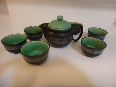 Black teal CHINESE TEA SET green Asian porcelain ceramic mesh strainer leaves