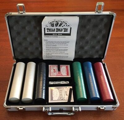 Poker Chip Set 300 ChipsDice  Texas Hold'em Cards with Silver Aluminum Case New