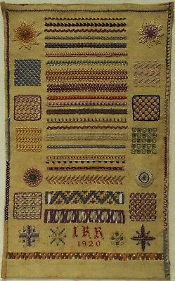 Early 20Th Century Darning Patch & Pattern Sampler Initialled Irr - 1920