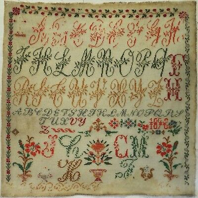 Late 19Th Century German? Alphabet & Floral Motif Sampler Initialled Fh - 1890