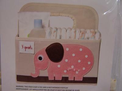 NEW 3 SPROUTS Storage Tote Holder Bag Baby Diaper Caddy,Supplies Pink Elephant