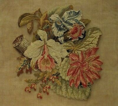 SMALL MID/LATE 19TH CENTURY NEEDLEPOINT OF A FLORAL SPRAY - c.1870