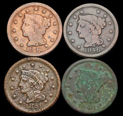 Braided Hair Large Cent, Lot of 4, 1846, 1847, 1848, 1851