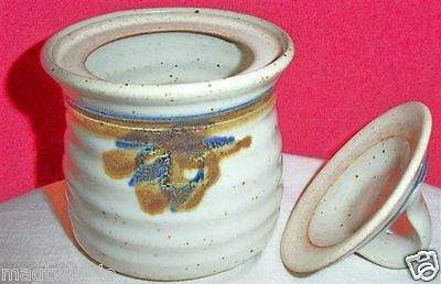 "Studio Art Pottery Pot+Lid with Loop-Handle; Pot is Relief-STAMPED ""Tim""#943-V+L"