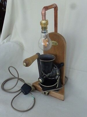 Steam Punk Salter Cast Iron & Copper  Coffee Grinder  Industrial Lamp