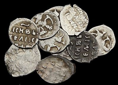 RUSSIA. Lot of 10 nice Silver Hammered Denga of Ivan the Terrible