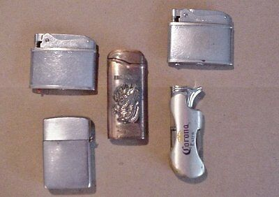 Lot of 5 Rare Old Vintage Lighters Automatic Brother-Lite Champ Dragon Corona