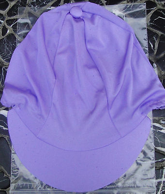 Lycra Riding Hat Silk skull cap cover PLAIN LILAC with or without pompom