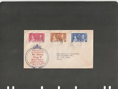 LEWARD ISLANDS  - FDC COVER CORONATION OF K. George VI