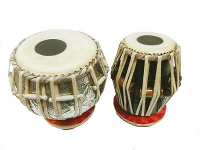 TABLA SET IN BAG Leather Thong Tension Tuning Straps C/W Tuning Hammer and Pa...