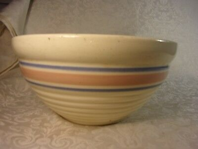 """Antique USA SGd Pink Blue Cream  Banded Yellow Ware Stoneware Mixing Bowl 9.5"""""""