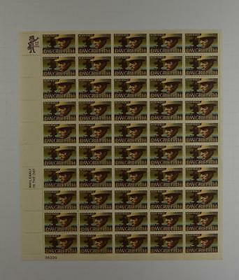 Us Scott 1555 Pane Of 50 D. W. Griffith Stamps 10 Cent Face  Mnh