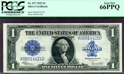 HGR SATURDAY 1923 $1 Silver Cert ((Wanted GEM+)) PCGS GEM NEW 66PPQ