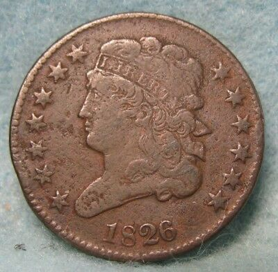 1826 Classic Head Half Cent VF Details * US Coin *