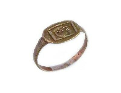 Roman Bronze Ring Thrace Bulgaria Engraved Intaglio Grain Galley Ship AD400 Sz7