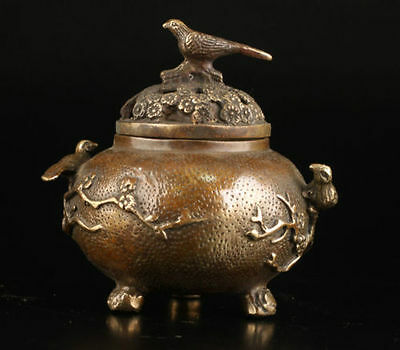Vintage Collection Old Brass Plum Flower Bird Lid Censer Incense Burner 8.5cm