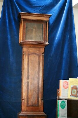 "Antique Grandfather Longcase  clock case oak and mahogany 81 1/4"" high"