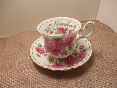 "Royal Albert Eng China Cup & Saucer Flower Of Month ""november""  Very Pretty!!!!"