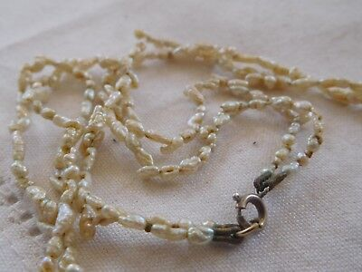 Lovely Old Art Deco Double Strand REAL Pearl Necklace sterling silver clasp