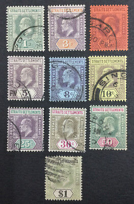 Momen: Straits Settlements Sg#110-119 1902 Used £162 Lot #4161