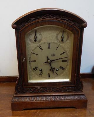 winterhalder & hoffmeir carved oak case 1/4 strike bracket clock c1900s