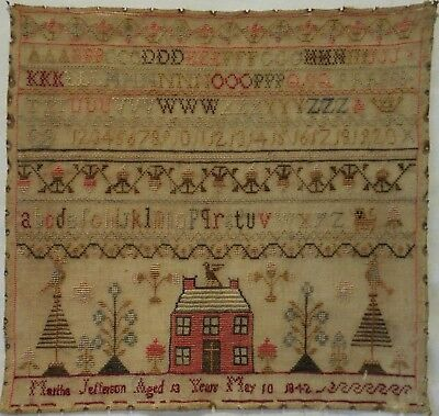 Early/mid 19Th Century Red House & Alphabet Sampler By Martha Jefferson - 1842