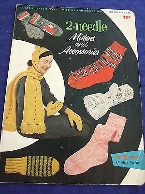 "Vintage 1955 Coats&clark""mittens&accessories"" Knitting Patterns  15 Pgs"