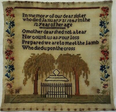 MID 19TH CENTURY MEMORIAL SAMPLER FOR A DEPARTED SISTER INITIALLED HS - c.1845