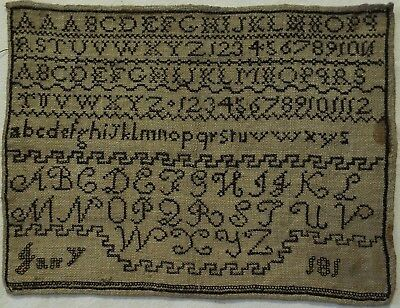Small Early 19Th Century Black Stitch Work Alphabet Sampler - 181*  - 1810-1819