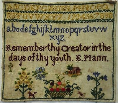 LATE 19TH CENTURY MOTIF, QUOTATION & ALPHABET SAMPLER BY E.MANN - c.1880