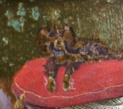 Antique Vintage Spaniel Hand Painted Lacquered Compartment Stamp Trinket Box