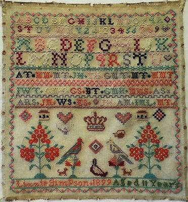Late 19Th Century Alphabet & Motif Sampler By Lizzie Simpson Aged 11 - 1899
