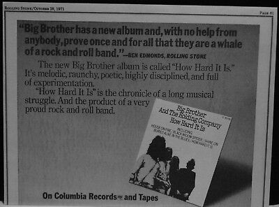1971 Big Brother and The Holding Company How Hard It Is rock promo print ad