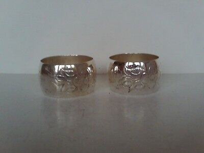 Pair of vintage Scandinavian Solid Silver Napkin rings possibly Norwegian
