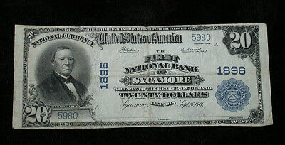 1902 First National Bank of Sycamore, IL National Currency $20 Note (rb1785)