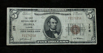 1929 First National Bank of Peoria, IL  National Currency $5 Note (rb1784)