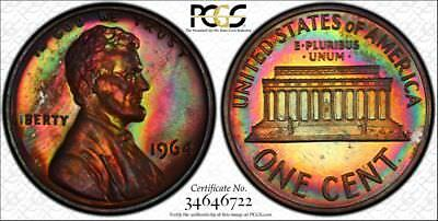 1964 PCGS PR64BN Deeply Rainbow Toned Proof Lincoln Cent with a TrueView (tk135)