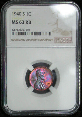1940 s NGC MS63 RB Colorful Toned Lincoln Cent (tg1096)