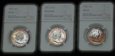 Lot of (3) NGC MS64/64FBL/64 1948 1951 d & 1952 Colorful Toned  Franklins tg1091