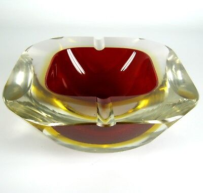 Murano Glas Aschenbecher Handarbeit Italy Handmade Glass Ashtray Sommerso Fat