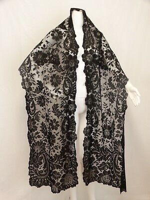 Antique Victorian Black Chantilly Lace Shawl Mantilla Oblong