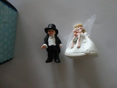 Hallmark Bride & Groom Merry Miniatures Figure Set w/ Box Madame Alexander 1998