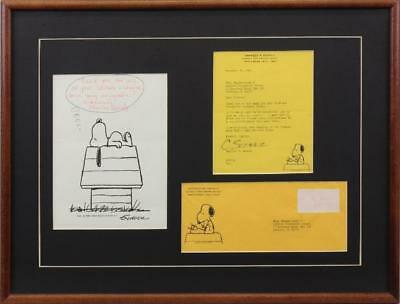 Super 2- Charles M. Schulz - Signed Pieces With Envelope Nicely Framed