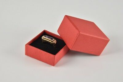e02r09- 585 Gold Ring mit 3x lila Stein Goldring in Etui