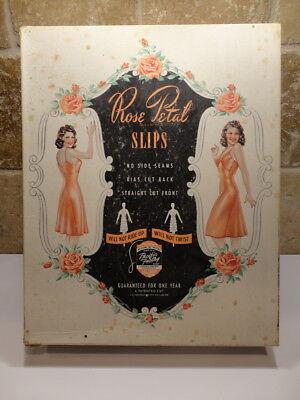 VINTAGE Authentic Advertising BOX for ROSE PETAL SLIPS Cardboard for Display