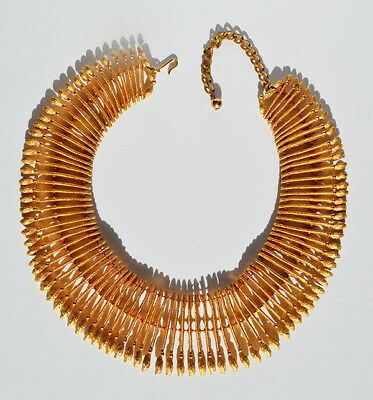 Vintage gold tone Egyptian costume statement bib necklace