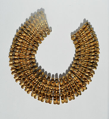 Vintage gold tone rhinestone Egyptian costume statement bib necklace
