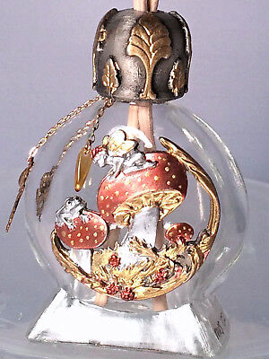 FAIRY & FROG on MUSHROOMS Glass & Pewter Bottle or Oil Diffuser #21