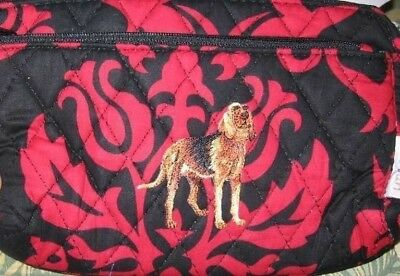 Quilted Fabric BLOODHOUND Dog Breed Damask Pattern Zipper Pouch Cosmetic Bag
