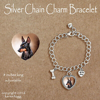 Toy Manchester Terrier Dog -  Charm Bracelet Silver Chain & Heart